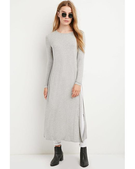 Forever 21   Gray Heathered Side-slit Tunic   Lyst