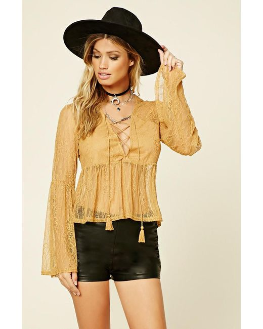 Forever 21 | Yellow Lace-up Babydoll Top | Lyst