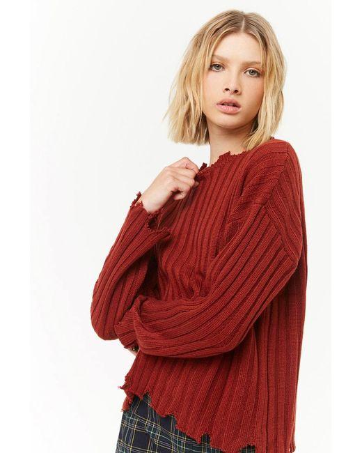Forever 21 - Red Women's Ribbed Sharkbite-trim Jumper Sweater - Lyst