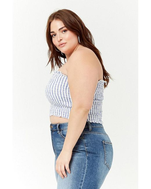 a5719ffe8c ... Forever 21 - Blue Plus Size Striped Tube Top - Lyst ...