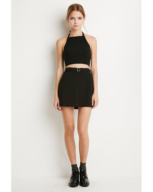 Forever 21 | Black Kick-pleat Mini Skirt | Lyst