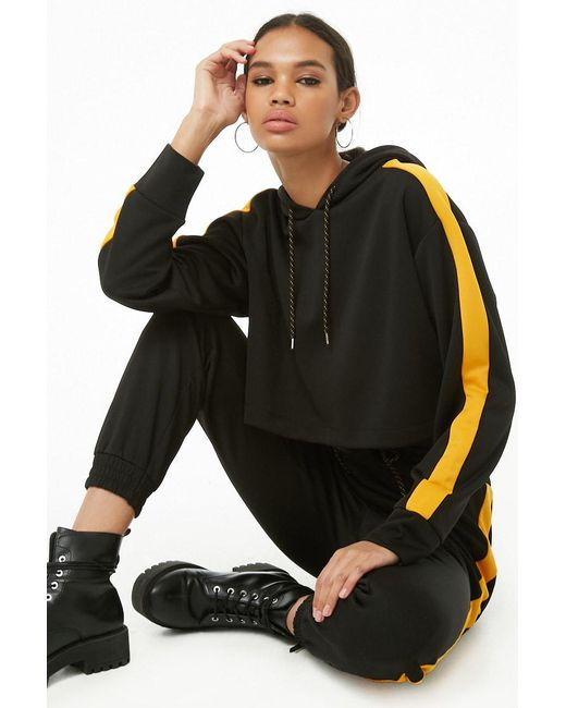 Forever 21 - Black Side-striped Cropped Hoodie - Lyst