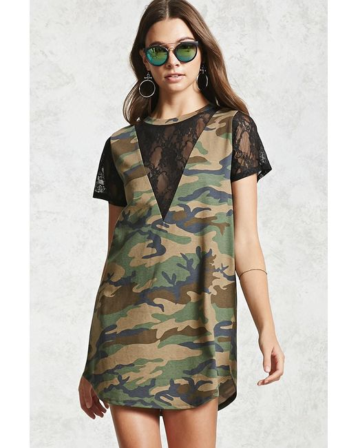 Forever 21 - Green Lace Camo T-shirt Dress - Lyst
