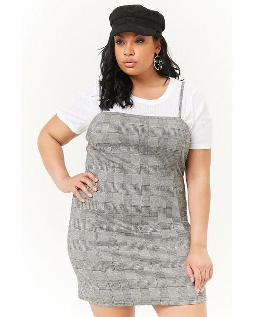 3d9514528c4 Forever 21 - Gray Women s Plus Size Glen Check Mini Dress - Lyst ...