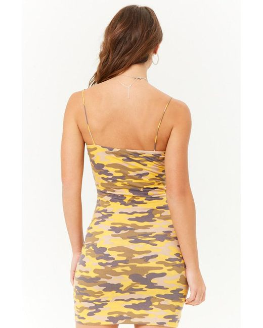 3a01f3bacd7 Forever 21 Women s Camo Cami Mini Dress in Yellow - Lyst
