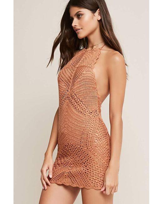 Forever 21 - Brown Crochet Cover-up Dress - Lyst