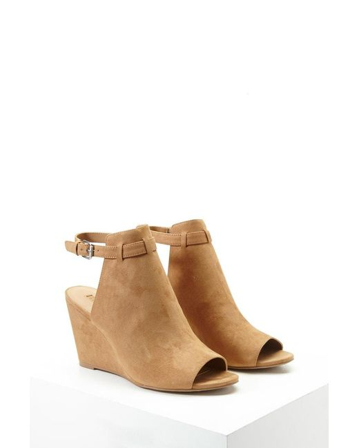Forever 21 - Brown Faux Suede Ankle-strap Wedges - Lyst