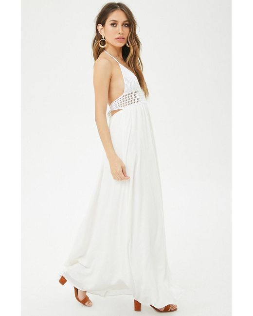 0daf88bad07 ... Forever 21 - White Crochet Halter Maxi Dress - Lyst