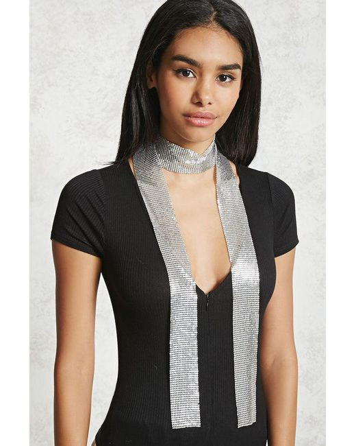 Forever 21 | Metallic Skinny Chainmail Scarf | Lyst