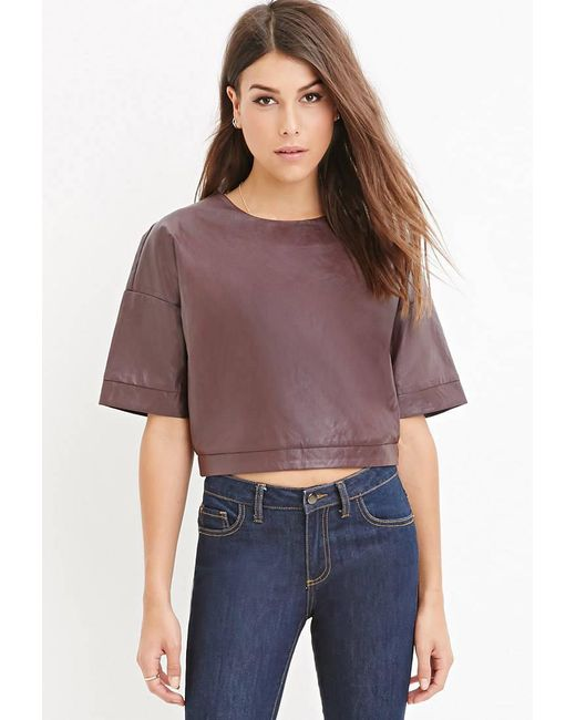 Forever 21 | Purple Faux Leather Boxy Top | Lyst