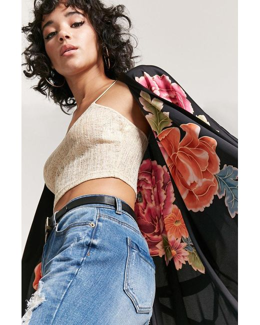 Forever 21 | Black Self-tie Floral Kimono | Lyst