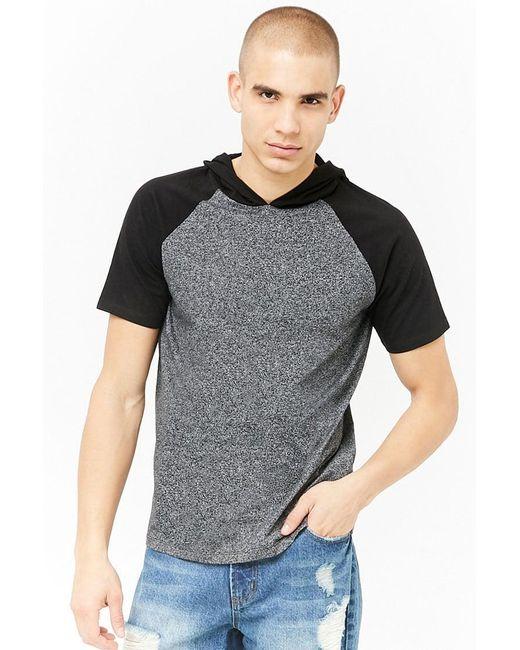 Forever 21 - Gray 's Marled Raglan Hooded Tee Shirt for Men - Lyst