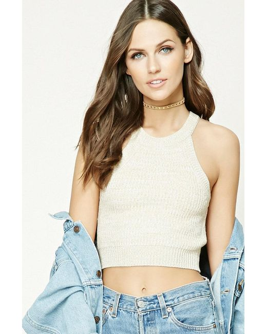 Forever 21 - Multicolor Marled Knit Cropped Cami - Lyst
