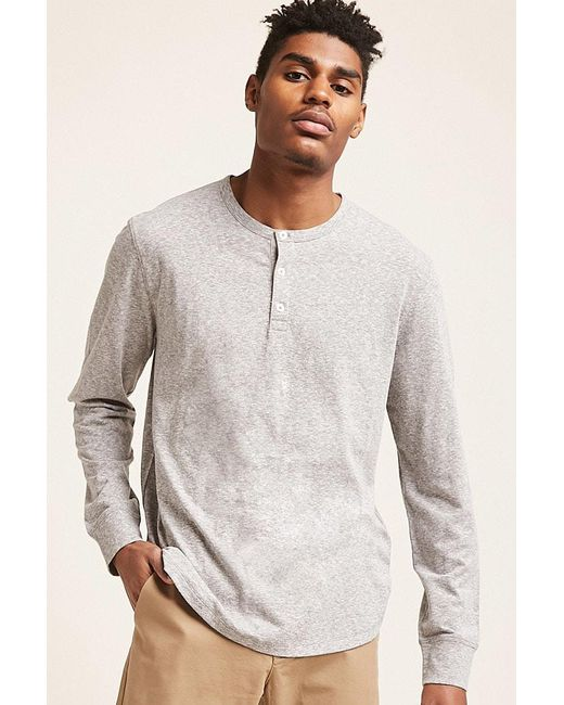 Forever 21 - Gray 's Marled Henley Top for Men - Lyst
