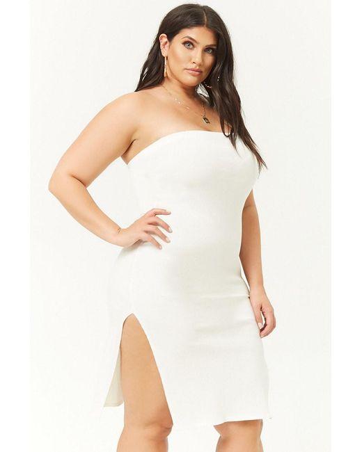 5cefe32a608 Forever 21 - White Women s Plus Size Ribbed Tube Bodycon Mini Dress - Lyst  ...