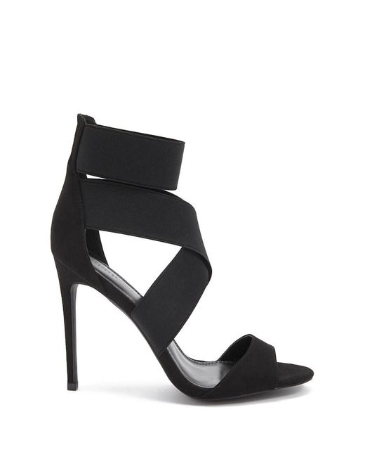 cf18632fa0 Forever 21 - Black Women's Strappy Faux Suede Heel Sandal - Lyst ...