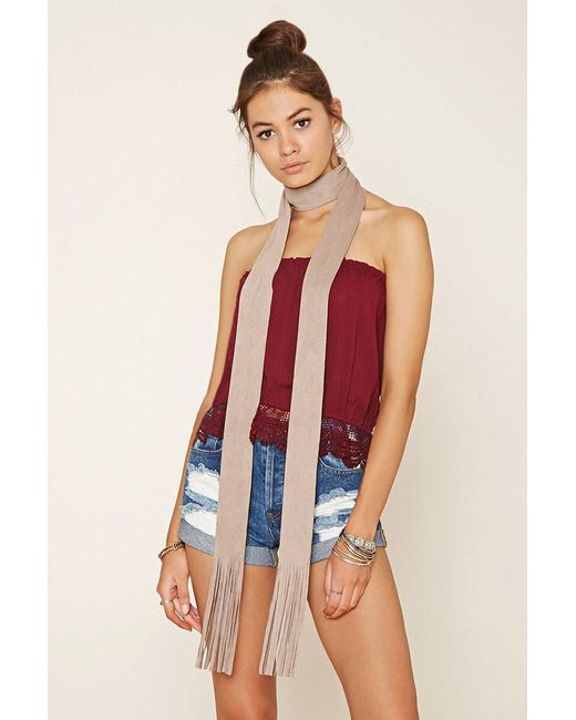 Forever 21 | Natural Fringe Faux Suede Scarf | Lyst