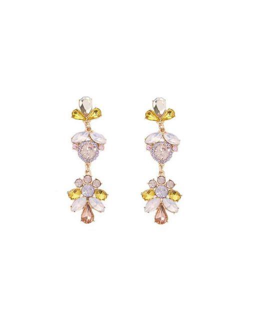 Forever 21 - Metallic Floral Faux Gem & Rhinestone Drop Earrings - Lyst