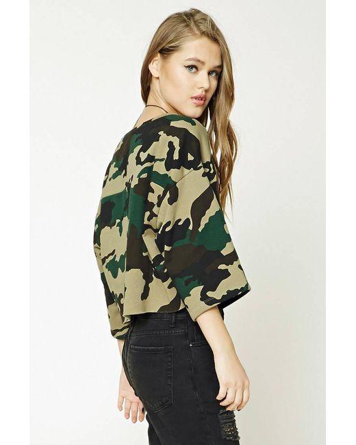... Forever 21 - Green Boxy Camo Print Sweatshirt - Lyst ...