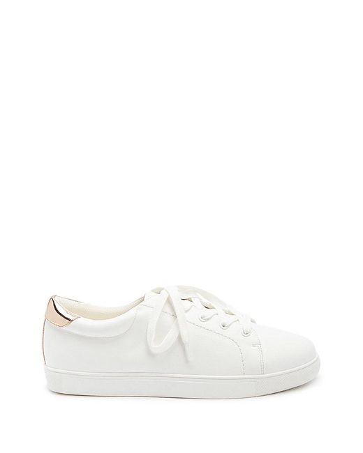 Forever 21 - White Metallic-trim Low-top Sneakers - Lyst