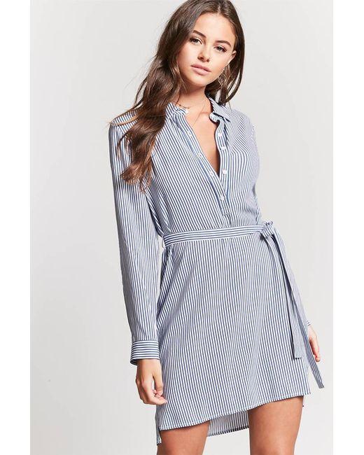 Forever 21 - Blue Striped Popover Shirt Dress - Lyst