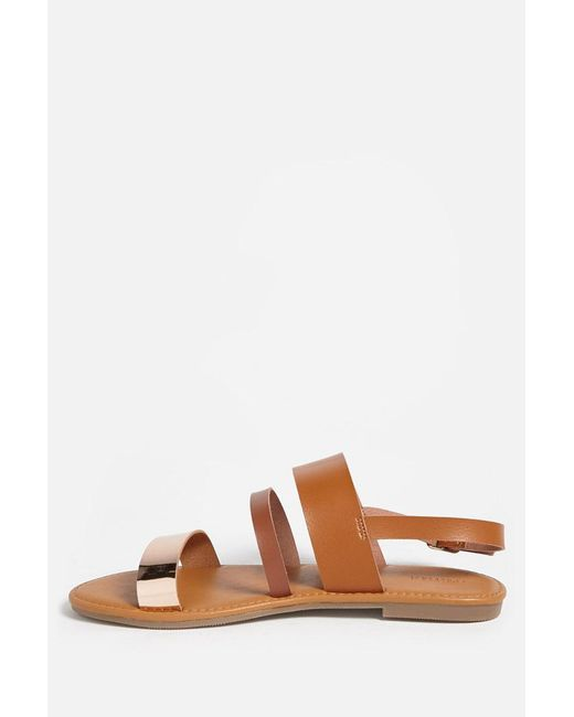 e7fc5fc996b6 ... Forever 21 - Brown Faux Leather Metallic Strap Sandals - Lyst