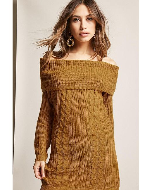 Forever 21 - Multicolor Cable Knit Off-the-shoulder Dress - Lyst