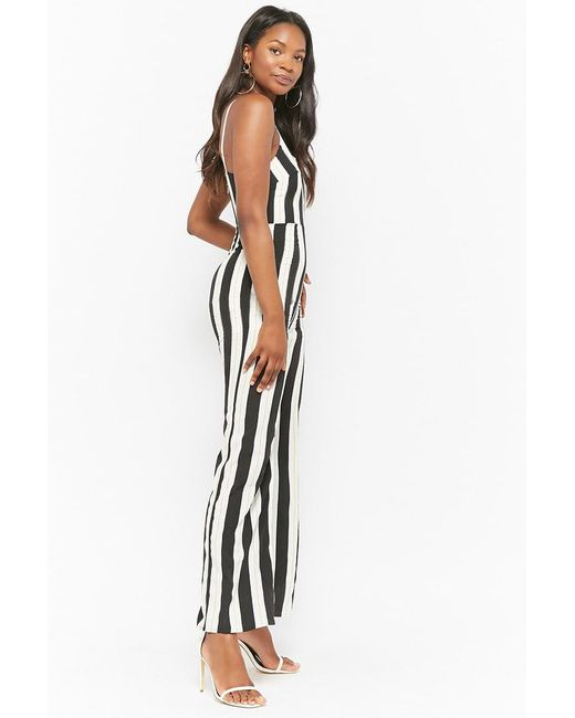 c48071f1db ... Lyst Forever 21 - Black Women s Striped V-wire Jumpsuit ...