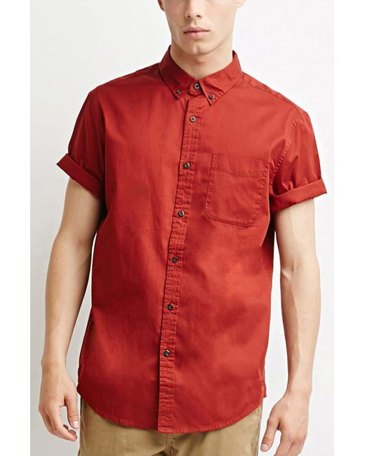 Forever 21 | Red Button-collar Shirt for Men | Lyst