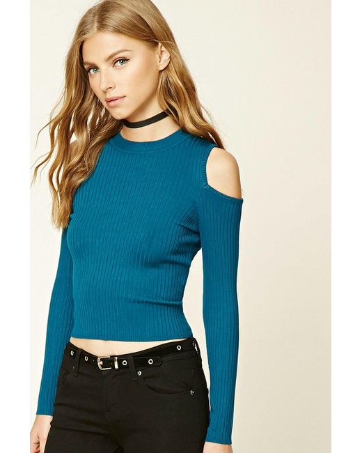Forever 21 - Blue Ribbed Open-shoulder Top - Lyst