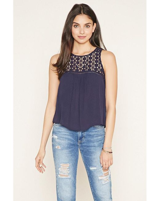 Forever 21 | Gray Floral Crochet-panel Gauze Top | Lyst