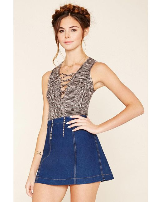 Forever 21 - Gray Lace-up Knit Top - Lyst