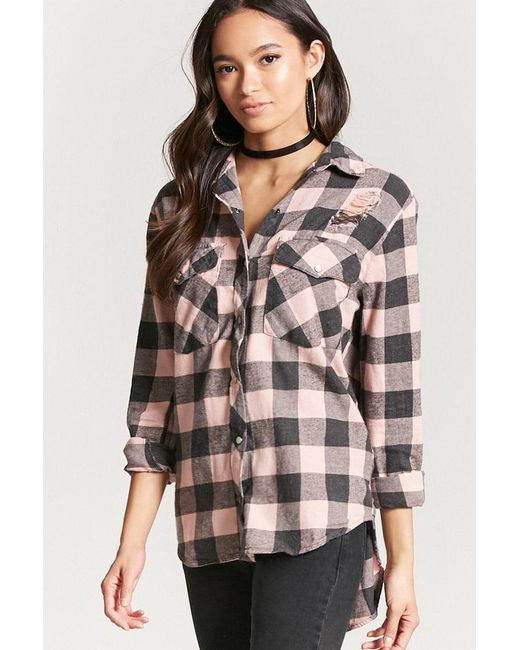 Forever 21 | Multicolor Distressed Buffalo Check Shirt | Lyst
