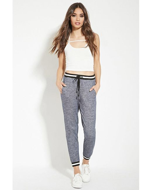 Forever 21 | Blue Varsity-stripe Heathered Sweatpants | Lyst