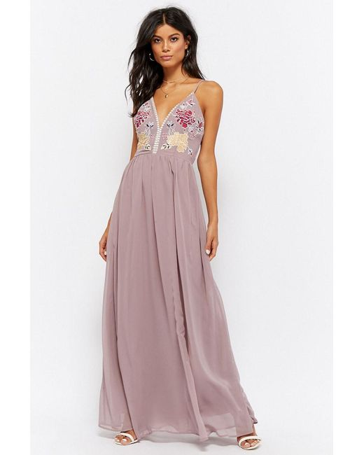 ea47a11572ab Forever 21 - Multicolor Floral Embroidered Prom Gown - Lyst ...