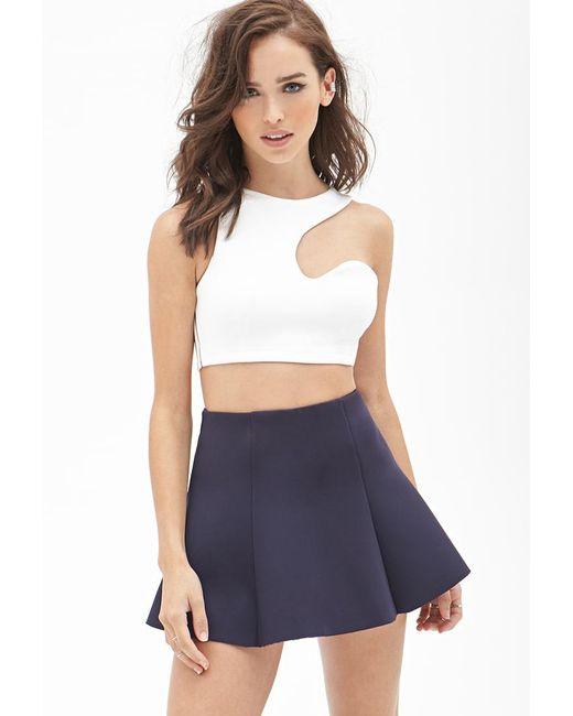 FOREVER21 - Blue Scuba Knit Flared Skirt - Lyst