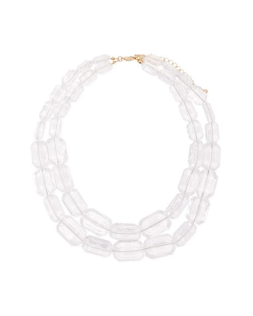 Forever 21 - White Faux Gem Layered Necklace - Lyst