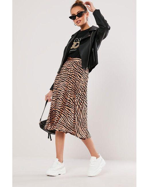 Missguided - Black Zebra Print Skirt At - Lyst