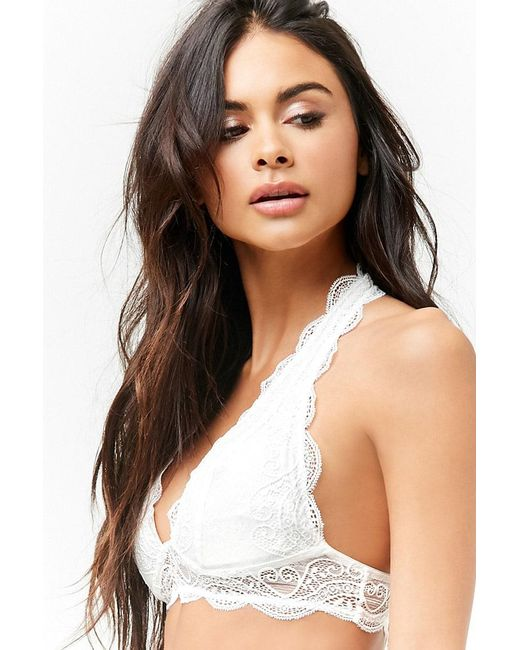 10a967d2a5 ... Forever 21 - White Scalloped Lace Halter Bralette - Lyst