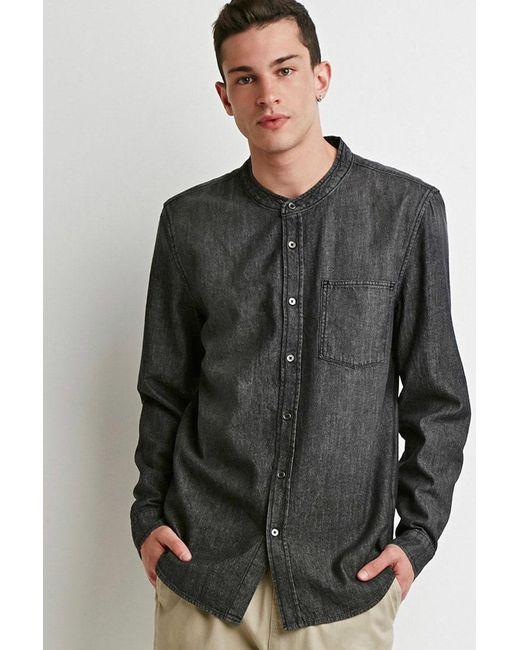 Forever 21   Gray Mandarin Collar Denim Shirt for Men   Lyst