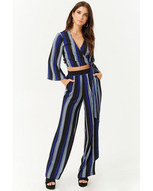 26c7ae5f341e49 Forever 21 - Blue Striped Crepe Wide-leg Pants - Lyst ...