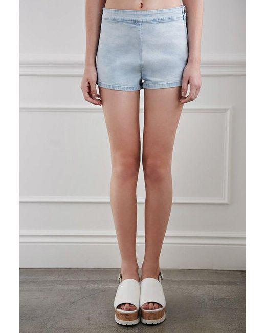 Forever 21   Blue High-waisted Denim Shorts   Lyst