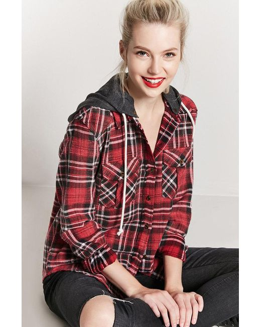 Forever 21 - Red Hooded Plaid Flannel Shirt - Lyst