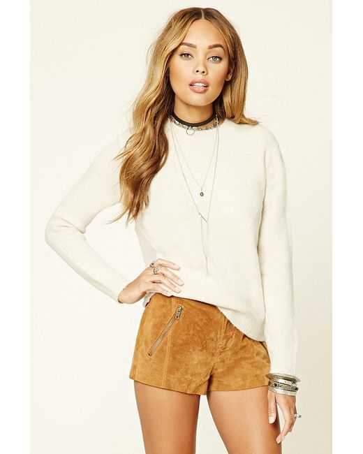 Forever 21 | Natural Heather Knit Sweater Top | Lyst