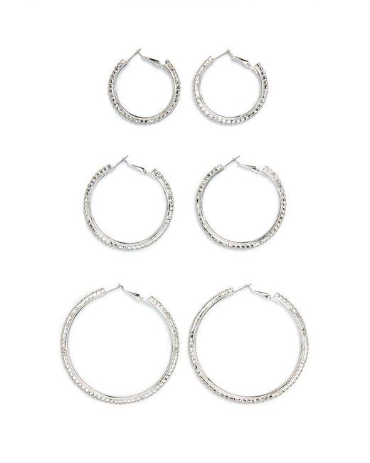 FOREVER21 - Metallic Rhinestone Hoop Earring Set - Lyst