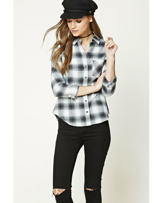 Forever 21 | Gray Buffalo Plaid Flannel Shirt | Lyst