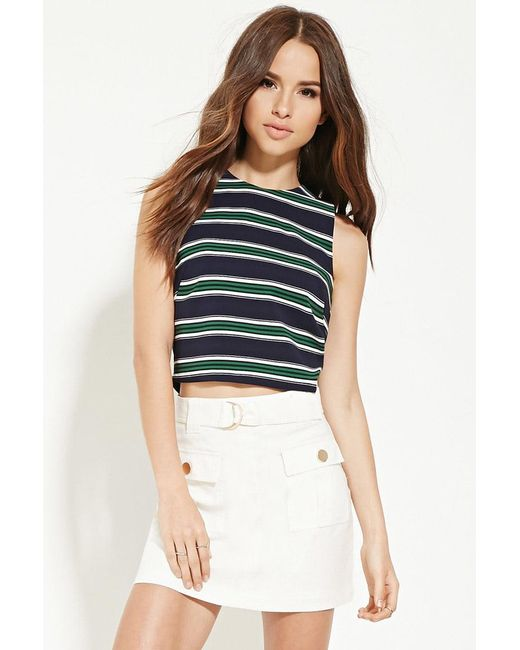 Forever 21 | Blue Button-back Striped Top | Lyst