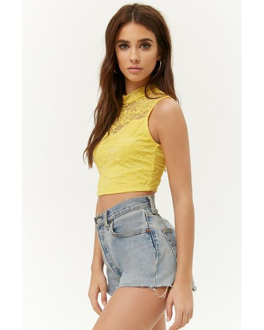 8777458341d932 ... Forever 21 - Yellow Sheer Floral Lace Crop Top - Lyst