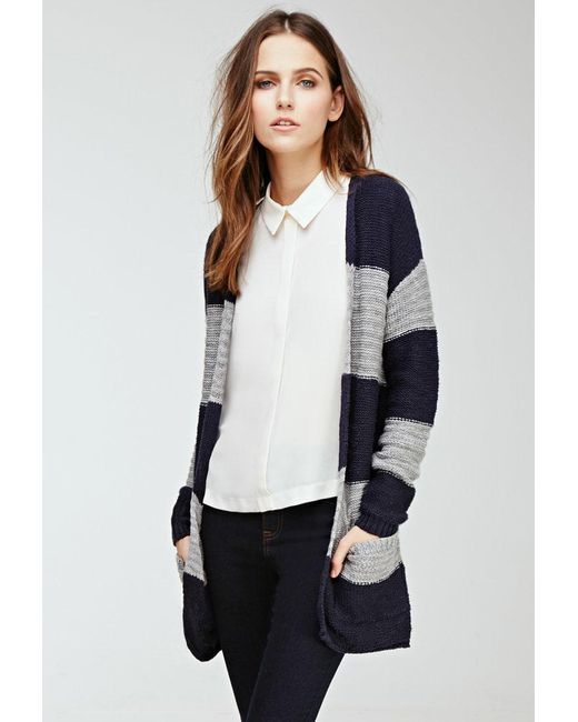 Forever 21 - Gray Striped Loose-knit Cardigan - Lyst