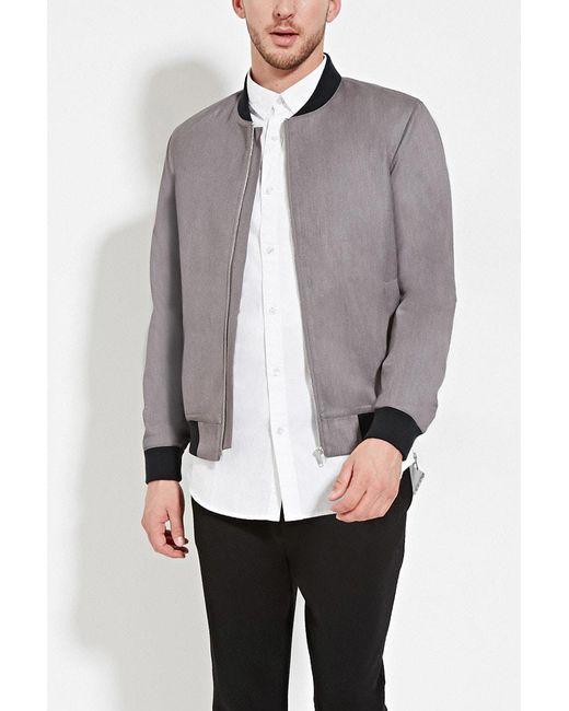 Forever 21 | Gray Zip-up Bomber Jacket for Men | Lyst